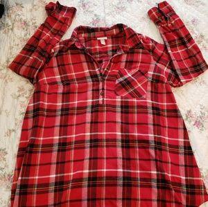 Isabel plaid maternity shirt